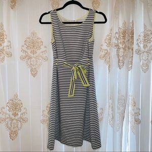 LOFT Dresses - Loft Grey Striped Seersucker Dress with Bow 🎀